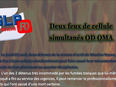 Prison de Moulins : Deux feux de cellule simultanés QD/QMA