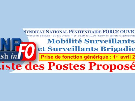 Mobilité des Surveillants et Brigadiers : Liste des postes proposés.