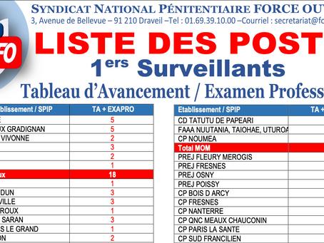Tableau d'Avancement / Examen Professionnel. Liste des postes 1er Surveillants
