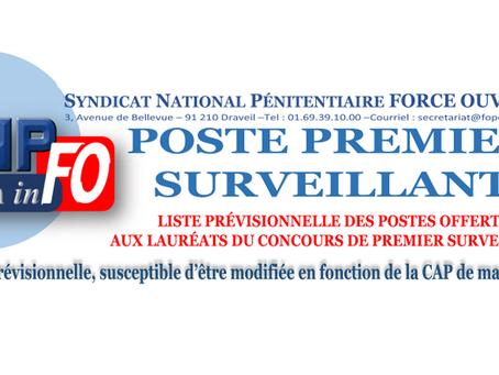Liste PRÉVISIONNELLE des postes offerts aux lauréats du concours de Premiers Surveillants
