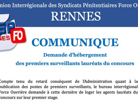 UISP FO Rennes : Demande d'hébergement des Premiers Surveillants lauréats du concours