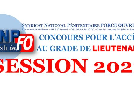 CONCOURS pour l'accès au grade de Lieutenant : Session 2021