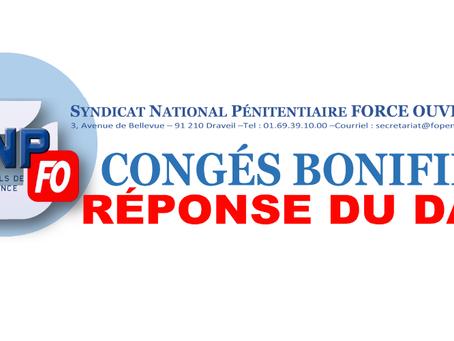 Congés Bonifiés : Réponse du Directeur de l'Administration Pénitentiaire