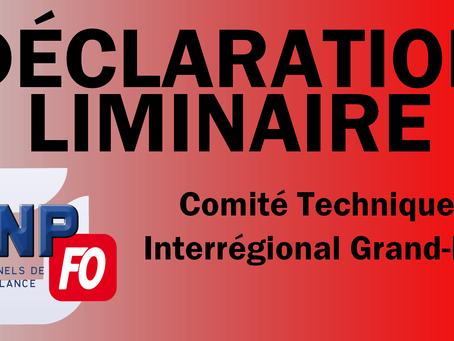 UISP-FO GRAND-EST-STRASBOURG : Déclaration liminaire du CTI