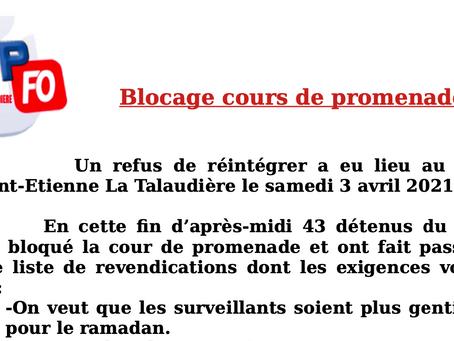 Prison de Saint-Etienne : Blocage cours de promenade !