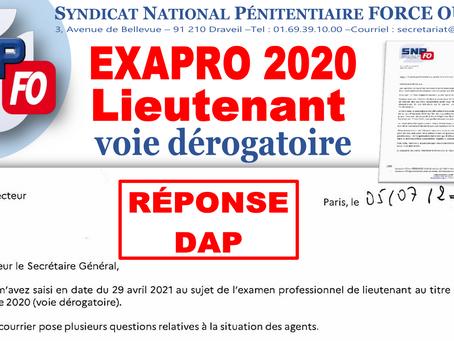 EXAPRO 2020 Lieutenant - Voie dérogatoire : Réponse de la DAP