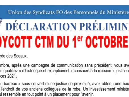 Déclaration Préliminaire : Boycott du CTM le 1er Octobre 2020