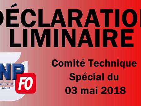 Prison de Vendin-le-Vieil : Déclaration Liminaire au Comité Technique Spécial du 03 mai 2018