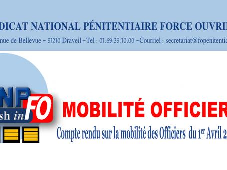 MOBILITÉ OFFICIERS : Compte rendu sur la mobilité des Officiers du 1er Avril 2020