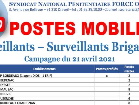 Postes Offerts à la Mobilité des Surveillants et Brigadiers. Campagne du 21 avril 2021