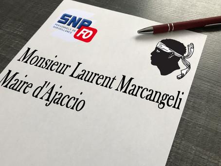 Lettre du SLP-FO Ajaccio à Monsieur le Maire d'Ajaccio Laurent Marcangeli