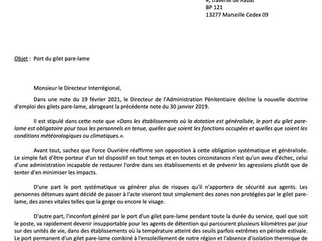 UISP-FO PACA-CORSE : Lettre Ouverte au Directeur Interrégional. Objet : Port du Gilet Pare-Lame