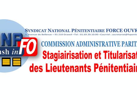 CAP : Stagiairisation et Titularisation des Lieutenants Pénitentiaires