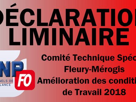 Prison de Fleury-Mérogis : Comité Technique Spécial Amélioration des Conditions de Travail 2018