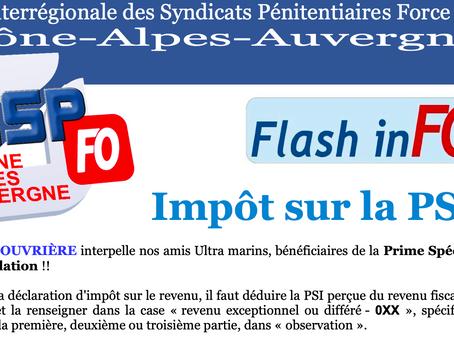 UISP-FO Rhône-Alpes-Auvergne : Flash-inFO / Impôt sur la PSI