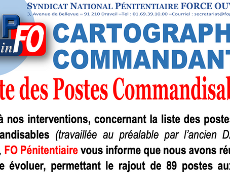 CARTOGRAPHIE COMMANDANTS : Liste des postes Commandisables