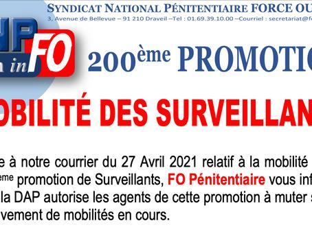 FLASH-INFO : Mobilité des Surveillants de la 200ème Promotion