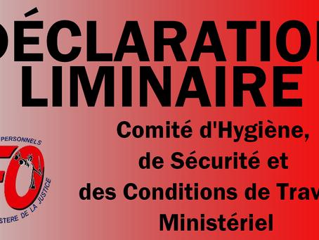 Union Justice : CHSCT Ministériel, Déclaration Liminaire