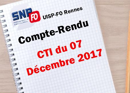 UISP-FO Rennes : Compte-Rendu CTI du 07 Décembre 2017