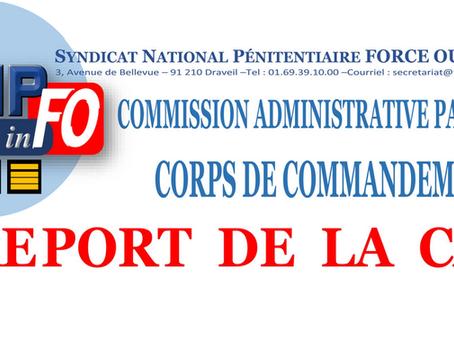 CAP du Corps de commandement : Report aux 19 et 20 septembre 2019