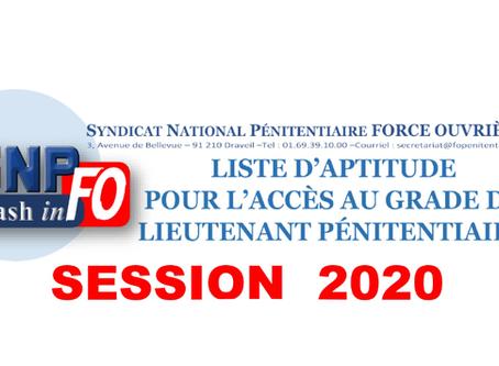 Liste d'aptitude pour l'accès au grade de Lieutenant Pénitentiaire Session 2020