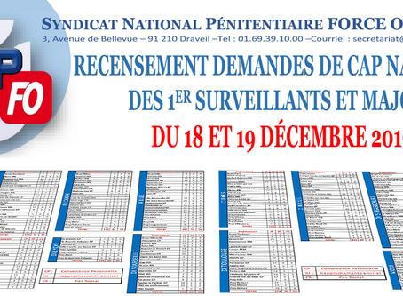 Recensement Demandes de CAP Nationale des Premiers Surveillants et Majors