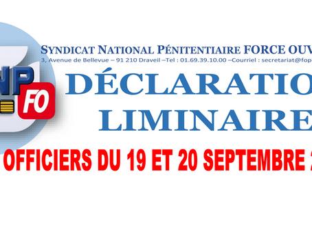 DÉCLARATION LIMINAIRE : CAP des Officiers du 19 et 20 septembre 2019
