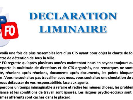 Prison de Joux-la-Ville : Déclaration Liminaire lors du CTS