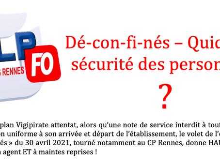 Prison pour femmes de Rennes : Dé-con-fi-nés - Quid de la sécurité des personnels ?
