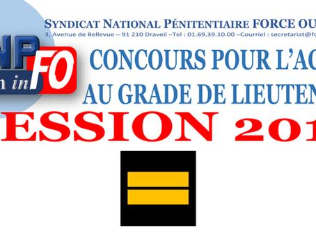 CONCOURS pour l'accès au GRADE de LIEUTENANT, session 2019