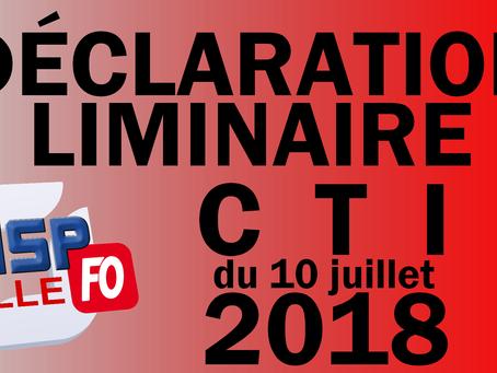 UISP-FO Hauts-de-France : Déclaration Liminaire CTI du 10 juillet 2018