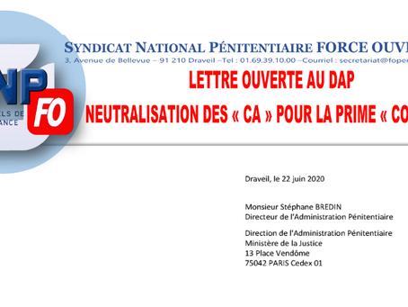 """Lettre Ouverte au DAP : Neutralisation des """"CA"""" pour la prime """"COVID-19"""""""