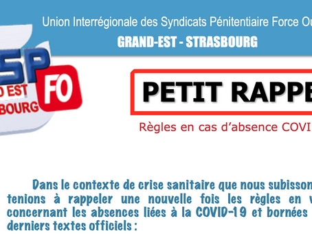 UISP-FO Grand EST Strasbourg : PETIT RAPPEL ! Règles en cas d'absence Covid-19