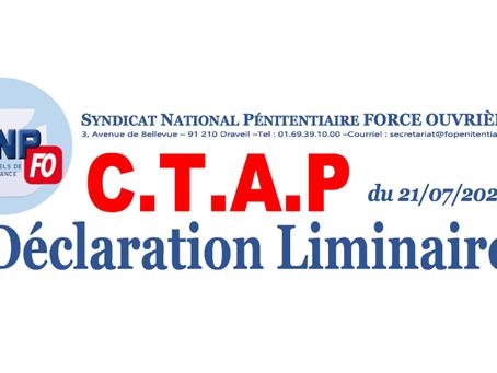 Déclaration Liminaire lors du CTAP du 21/07/2020
