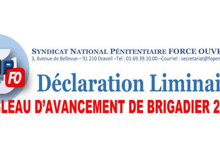 Déclaration Liminaire : Tableau d'avancement de Brigadier 2019
