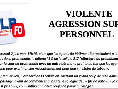 Prison de Bordeaux-Gradignan : Violente Agression sur Personnel