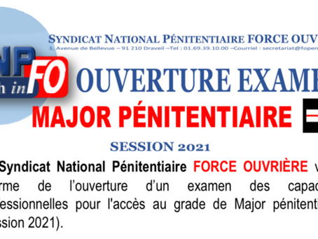 Ouverture de l'examen Major Pénitentiaire session 2021