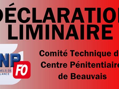 Beauvais : DÉCLARATION LIMINAIRE au Comité Technique du 05/12/2017