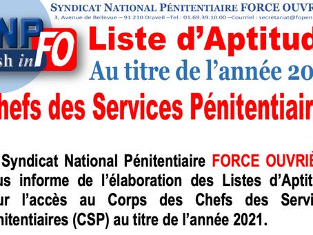 Liste d'Aptitude 2021 pour l'accès au Corps des Chefs des Services Pénitentiaires