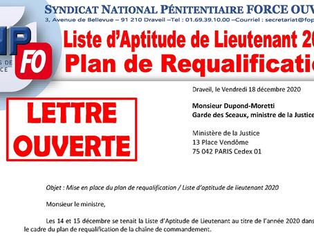 Liste d'Aptitude de Lieutenant 2020 / Plan de Requalification : Lettre Ouverte au Garde des Sceaux