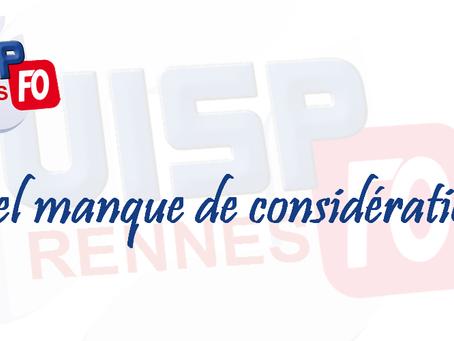 UISP-FO Rennes : Quel manque de considération !