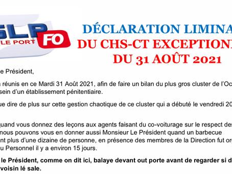 Prison Le Port : Déclaration liminaire lors du CHSCT exceptionnel du 31 août 2021