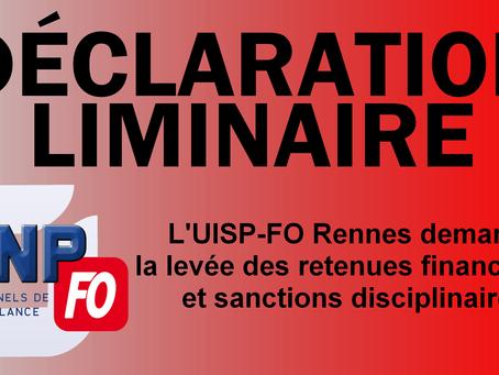 L'UISP-FO Rennes demande la levée des retenues financières et sanctions disciplinaires