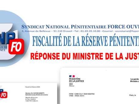 Fiscalité de la réserve Pénitentiaire : Réponse du Ministre de la Justice