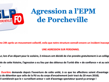 Prison pour mineurs de Porcheville : Agression à l'EPM