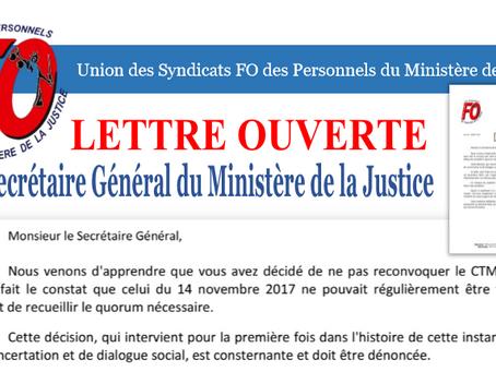 Lettre Ouverte au Secrétaire Général du Ministère de la Justice