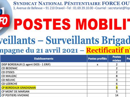 Postes Mobilité Surveillants et Brigadiers : Rectificatif n°1. Campagne du 21 avril 2021