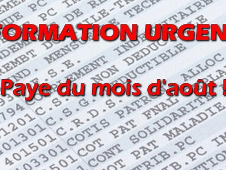 UISP-FO PACA-CORSE : INFORMATION URGENTE : Paye du mois d'août !