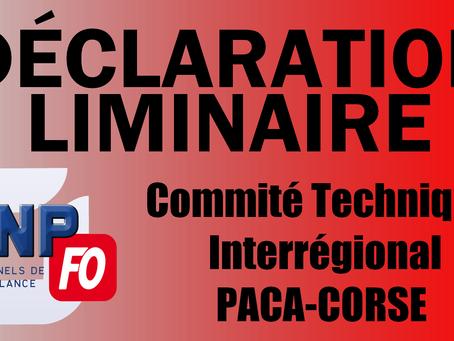 Déclaration Liminaire Comité Technique Interrégional du 26 Mars 2018