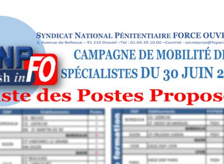 Campagne de mobilité des spécialistes du 30 juin 2020 : Liste des postes proposés